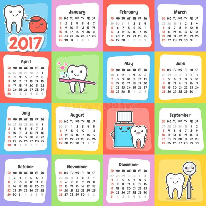 Calendario dental 2017 de la pared libre illustration