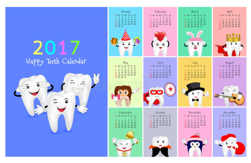 Calendario dental 2017 de la pared stock de ilustración