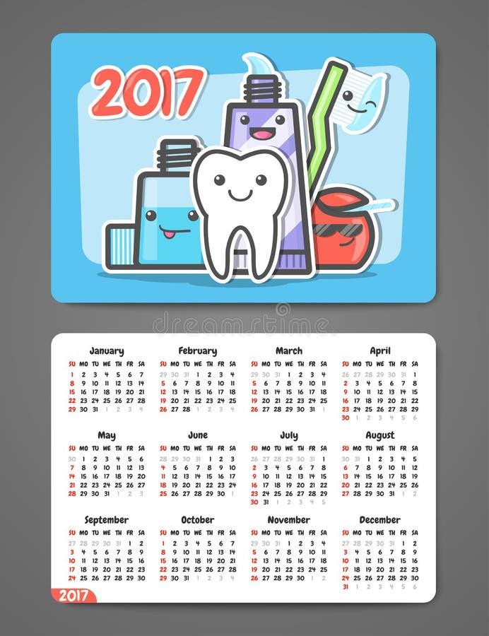 Calendario dental 2017 del bolsillo libre illustration