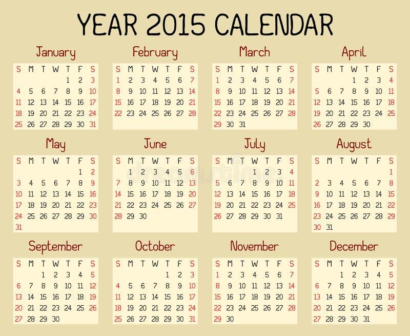 Calendario di anno 2015 illustrazione di stock