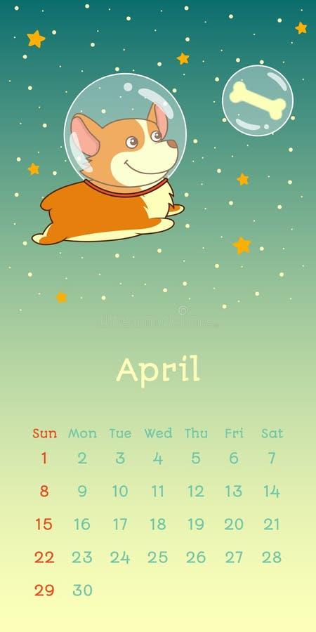 2018 calendario di aprile con il cane del corgi di lingua gallese illustrazione vettoriale