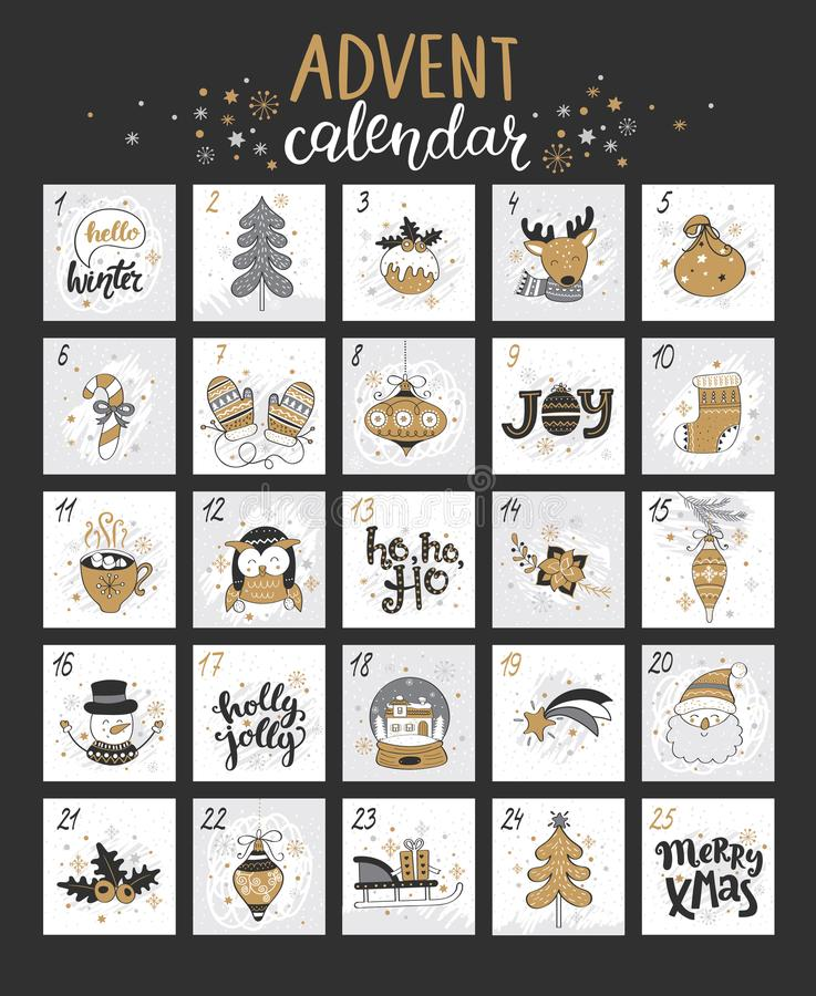 Calendario di arrivo di Natale felice con i simboli illustrazione di stock