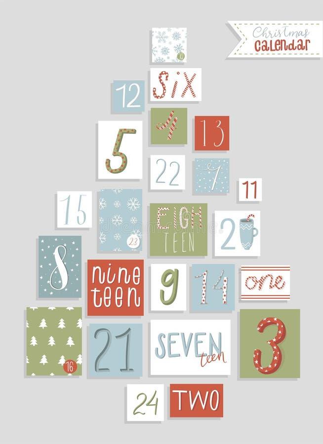 Calendario di arrivo di Natale, stile disegnato a mano sveglio royalty illustrazione gratis