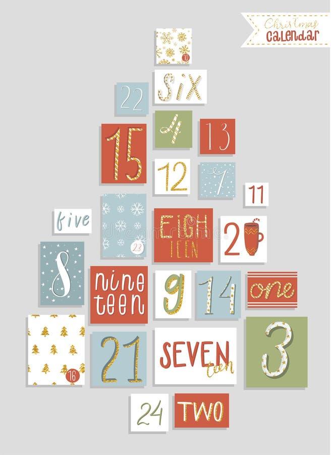 Calendario di arrivo di Natale, stile disegnato a mano sveglio illustrazione vettoriale