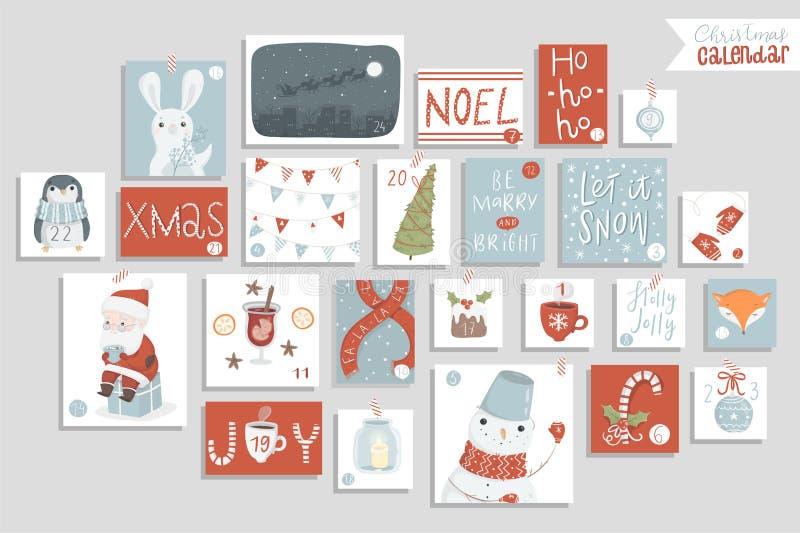 Calendario di arrivo di Natale, stile disegnato a mano sveglio illustrazione di stock