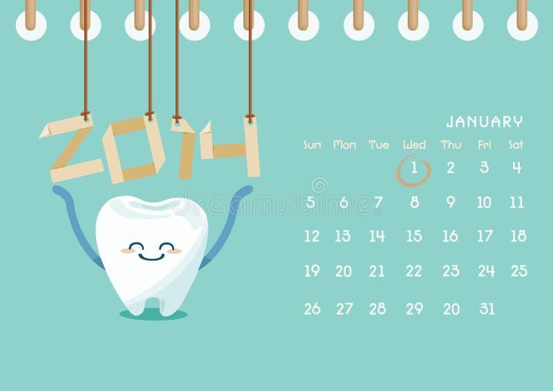Calendario di 2014 dentario  royalty illustrazione gratis