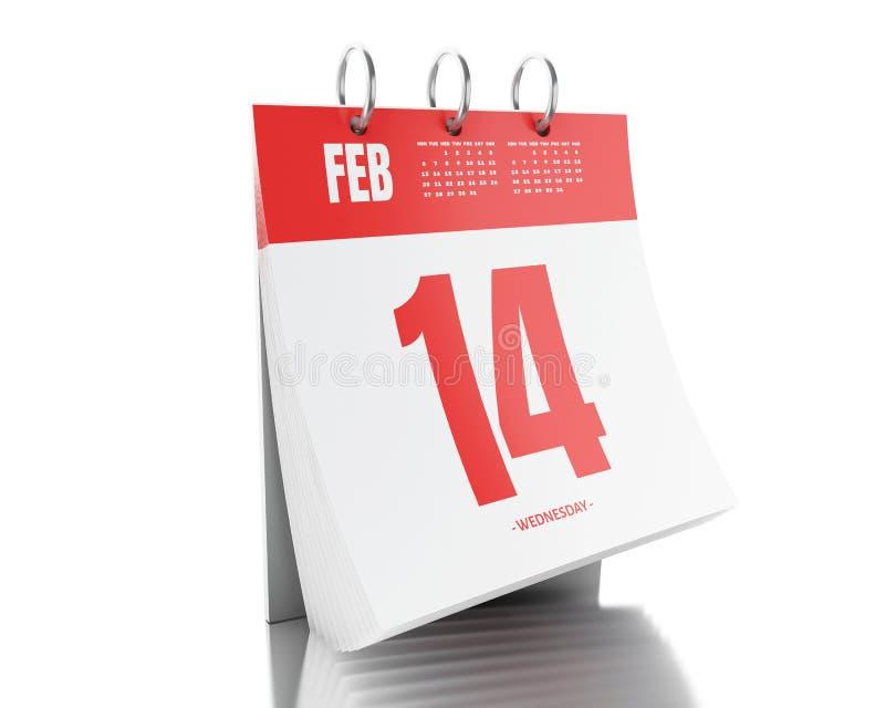 calendario di giorno 3d con data il 14 febbraio 2017 illustrazione vettoriale