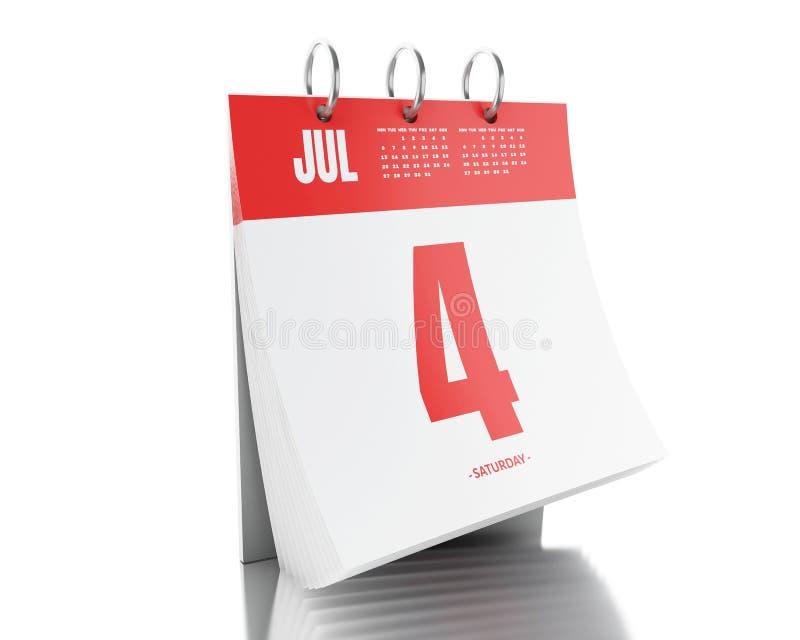 calendario di giorno 3d con data il 4 luglio 2017 illustrazione di stock