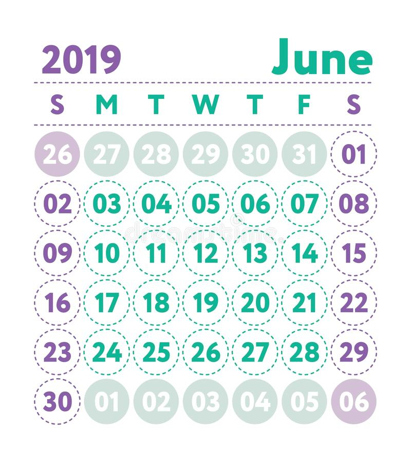 Calendario 2019 Calendario di inglese di vettore Mese di giugno Inizio di settimana illustrazione vettoriale