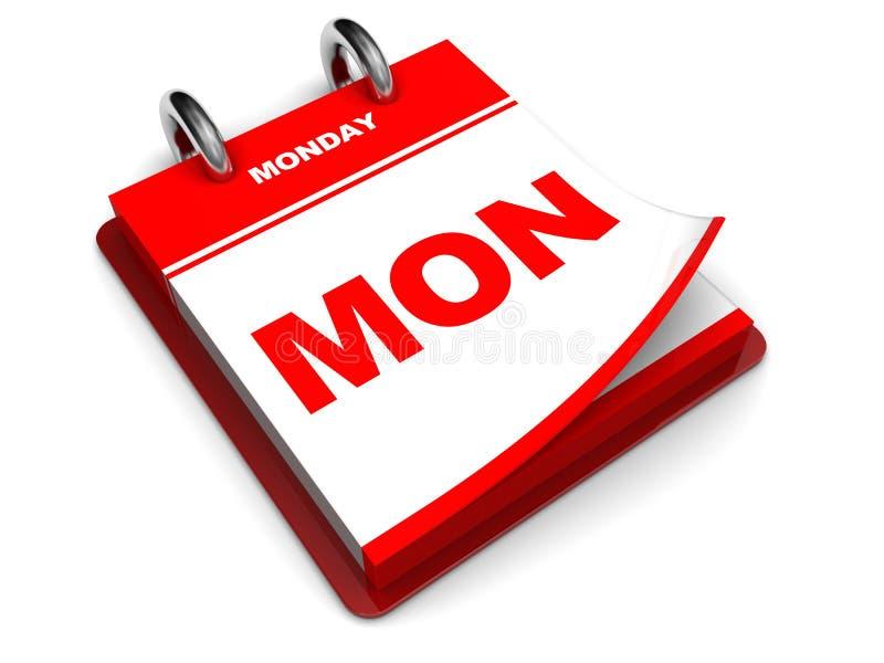 Calendario di lunedì illustrazione di stock
