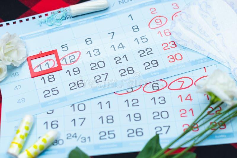Calendario di mestruazione con i tamponi del cotone ed i cuscinetti sanitari Giorni critici della donna, protezione di igiene del fotografia stock