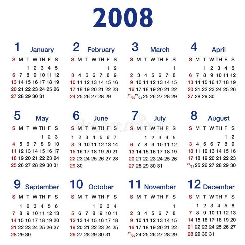 calendario di Quadrato-rapporto 2008 illustrazione vettoriale