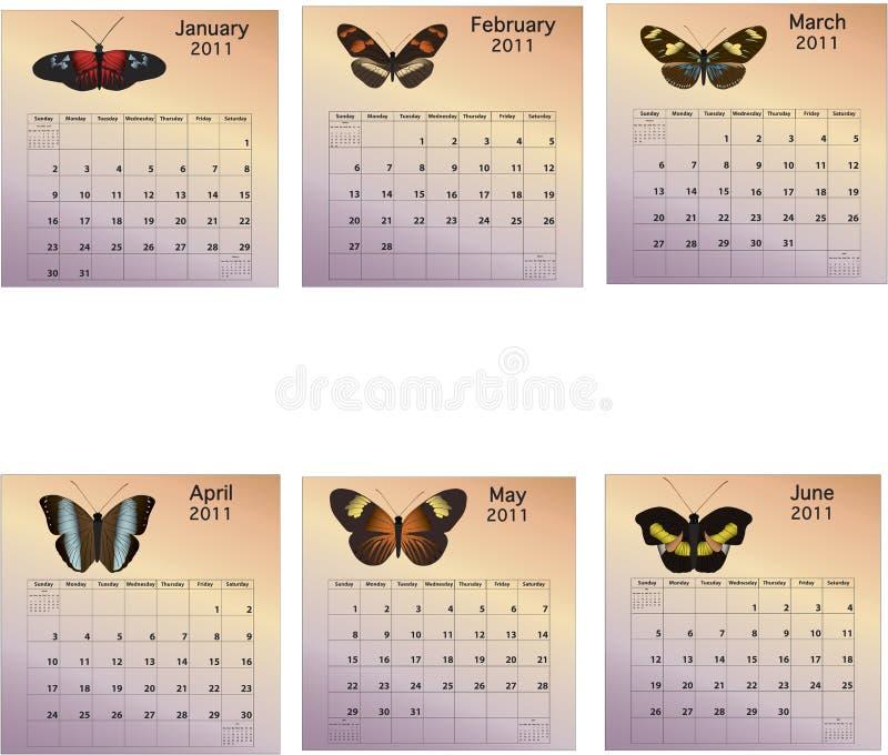 Calendario di sei mesi - 2011 fotografia stock