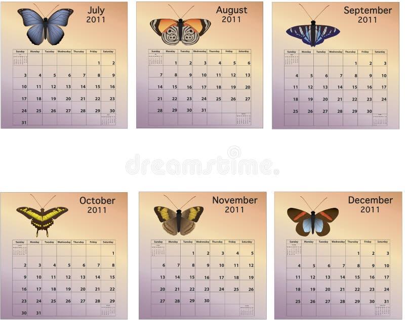 Calendario di sei mesi 2011 immagine stock