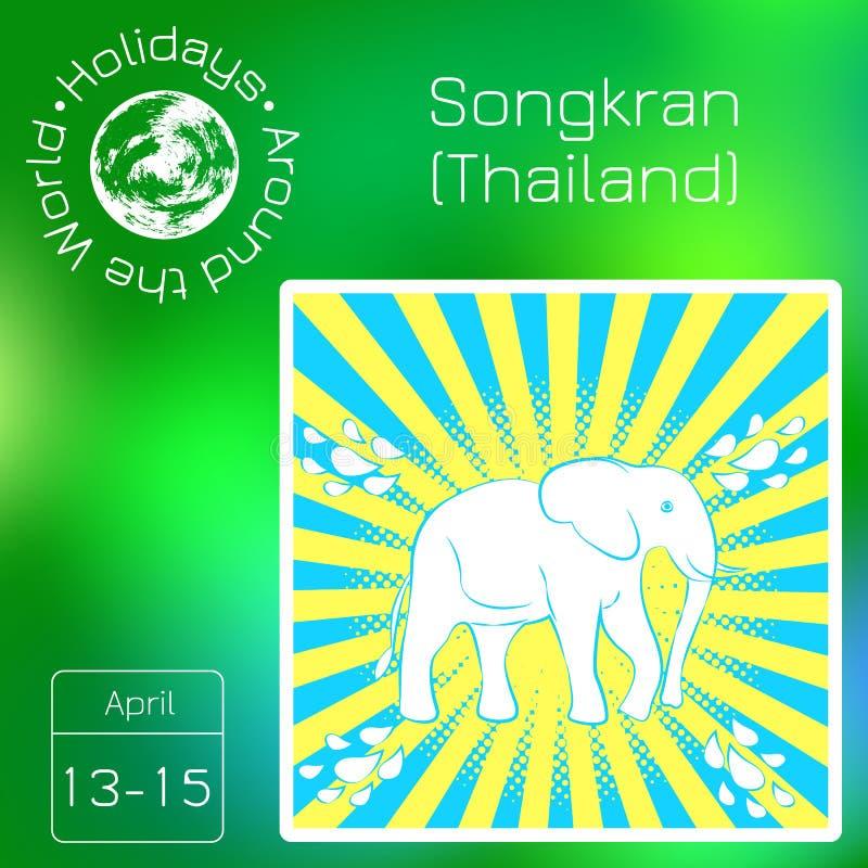Calendario di serie Feste intorno al mondo Evento di ogni giorno dell'anno Nuovo anno di Songkran in Tailandia Dal 13-15 giugno illustrazione di stock
