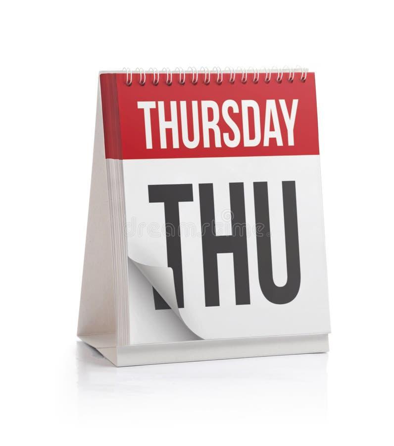Calendario di settimana, pagina di giovedì fotografie stock