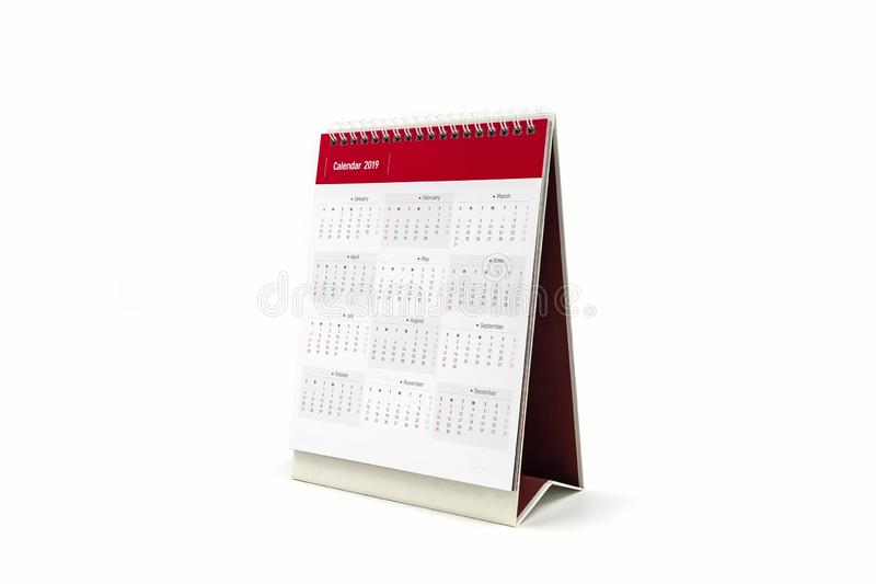 Calendario 2019 di spirale dello scrittorio di Libro Bianco su fondo bianco immagine stock libera da diritti