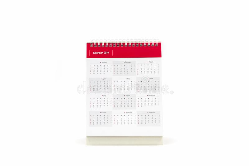 Calendario 2019 di spirale dello scrittorio di Libro Bianco su fondo bianco fotografia stock libera da diritti