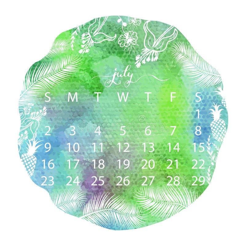 Calendario di struttura dell'acquerello Calligrafia scritta a mano di luglio illustrazione vettoriale