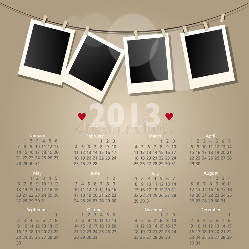 Calendario di vettore 2013 con i blocchi per grafici della foto del polaroid illustrazione di stock
