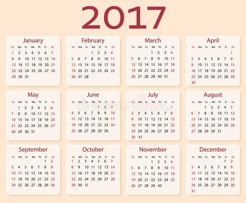 Calendario di vettore 2017 anni Inizio di settimana con domenica illustrazione vettoriale