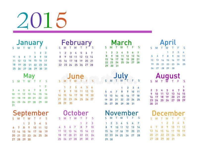 calendario di vettore di 2015 anni royalty illustrazione gratis