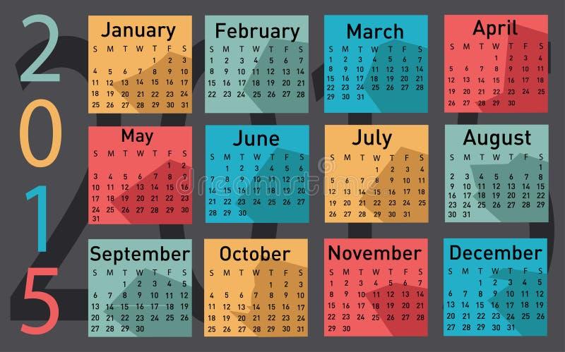 calendario di vettore di 2015 anni illustrazione di stock