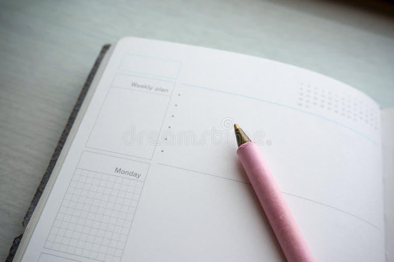 Calendario/diario pianificatore di giorno con la penna alla pagina aperta immagini stock