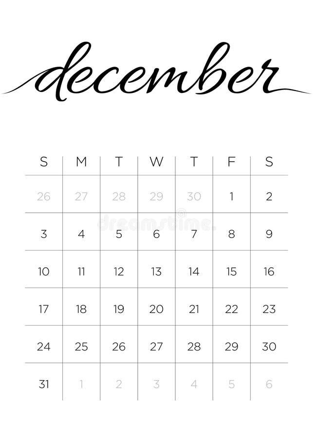 Calendario dicembre 2017 mensile illustrazione vettoriale