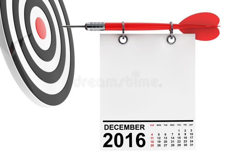 Calendario diciembre de 2016 con la blanco representación 3d ilustración del vector