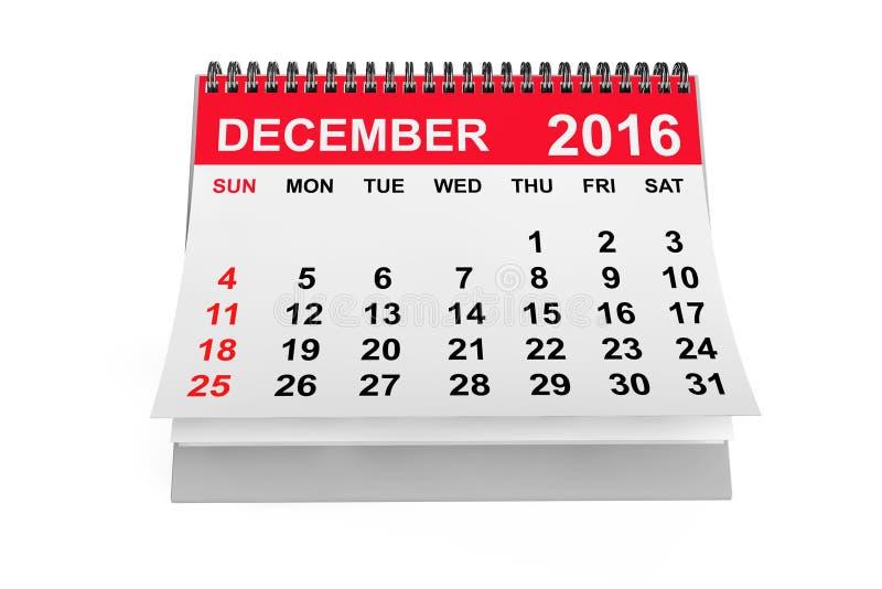 Calendario diciembre de 2016 representación 3d libre illustration