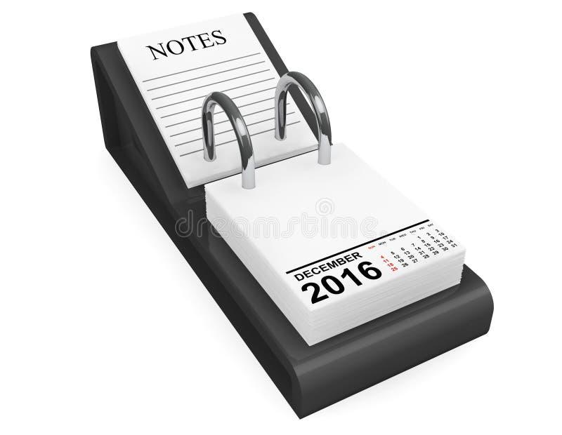 Calendario diciembre de 2016 representación 3d stock de ilustración