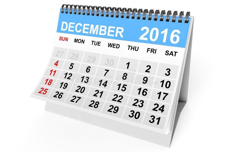 Calendario diciembre de 2016 representación 3d ilustración del vector