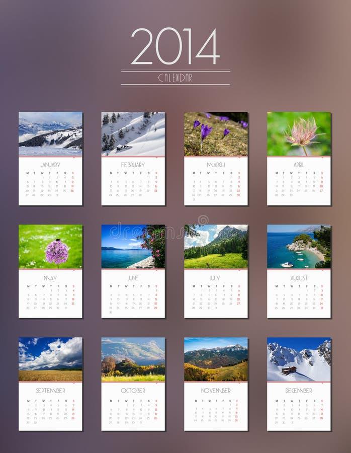 Calendario 2014 - diseño plano ilustración del vector