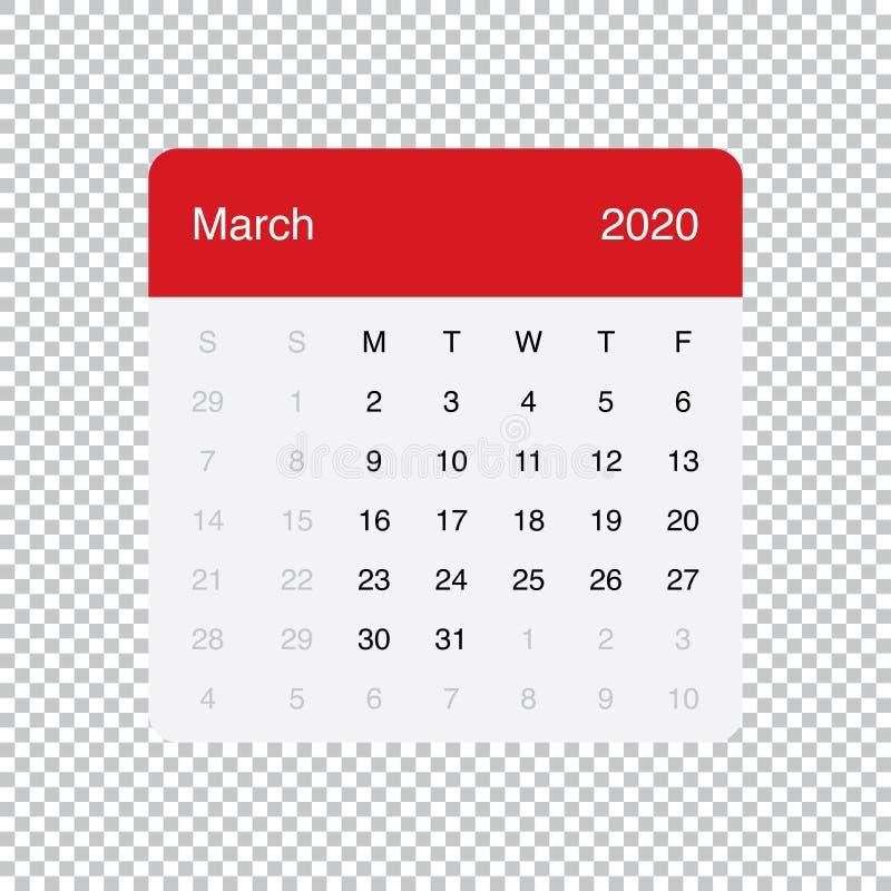 Calendario diseño simple de la tabla mínima limpia de marzo de 2020 Comienzo de la semana el lunes stock de ilustración
