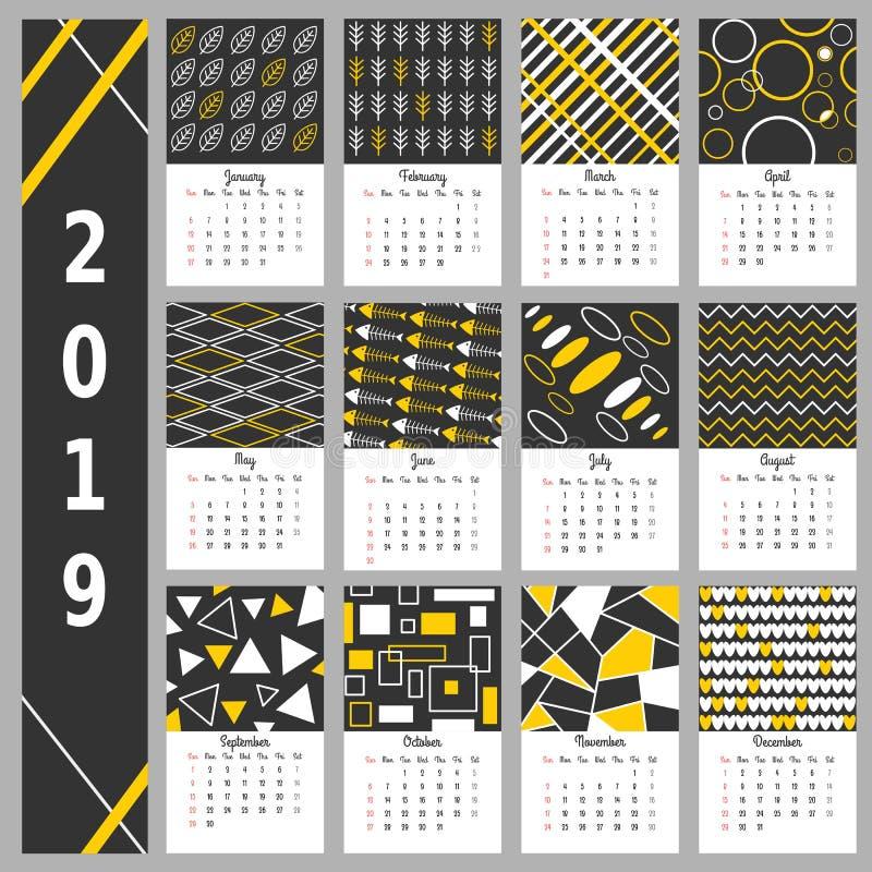 Calendario 2019 diseño simple del calendario Vector del calendario ilustración del vector