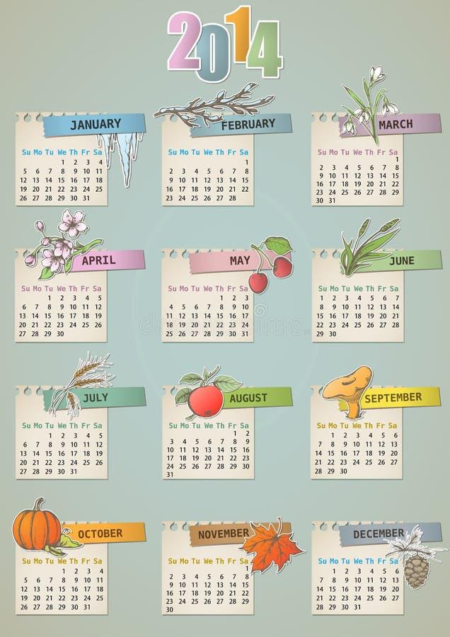 Calendario disegnato a mano d annata