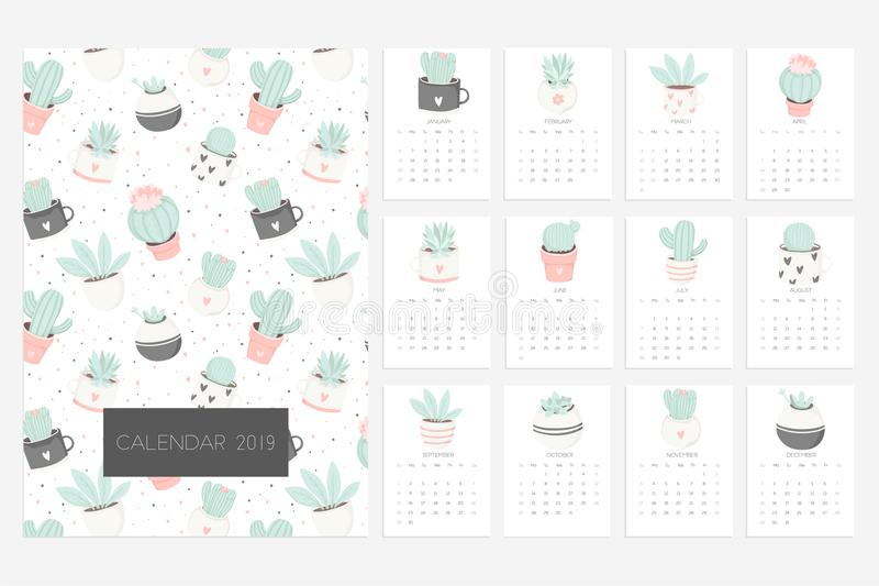 Calendario 2019 Diversión y calendario lindo con los succulents y las plantas dibujados mano del cactus libre illustration