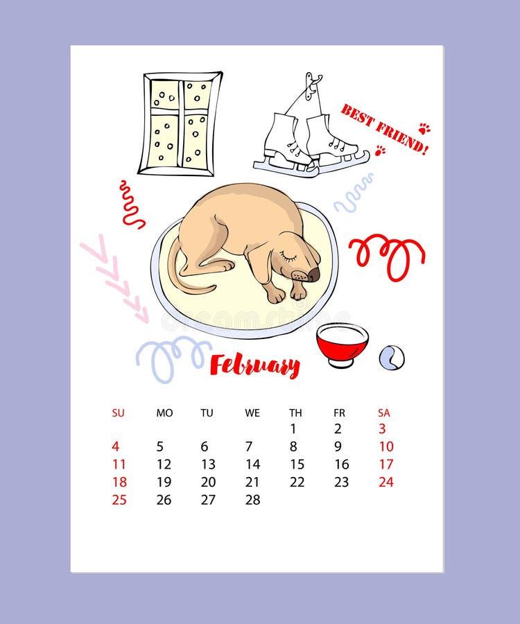 Calendario divertido del bosquejo del perro ilustración del vector