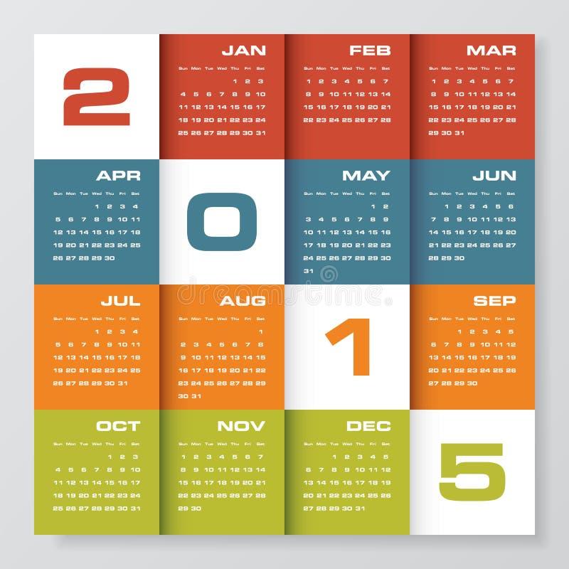 Calendario editabile semplice 2015 di vettore illustrazione di stock