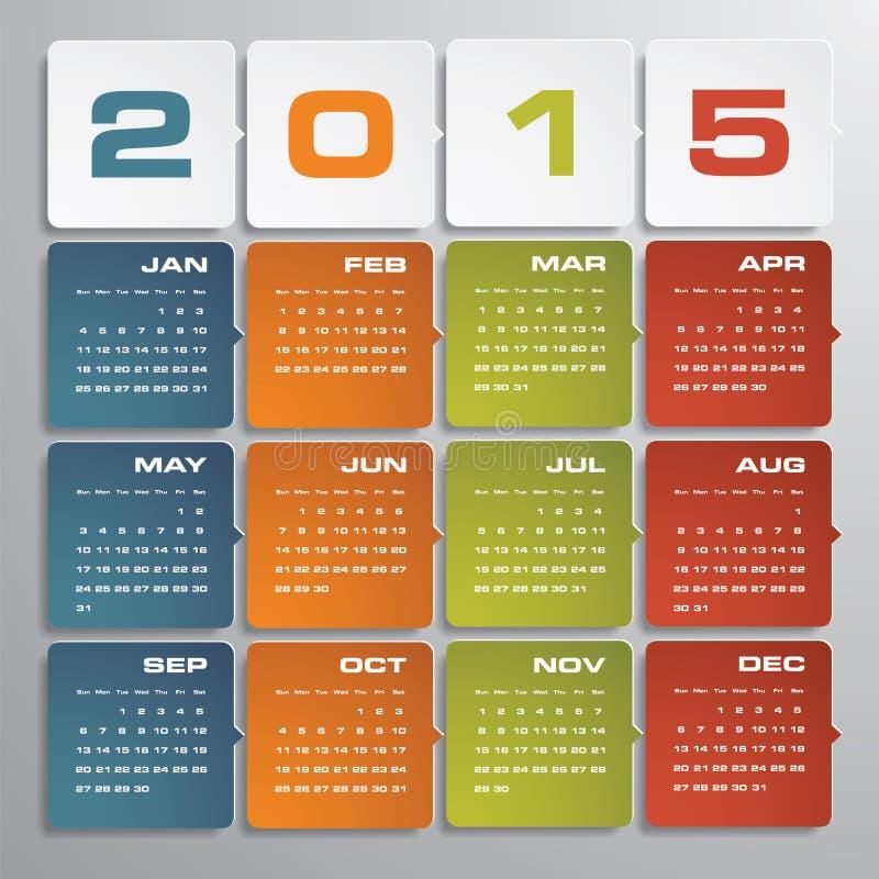 Calendario editable simple 2015 del vector stock de ilustración