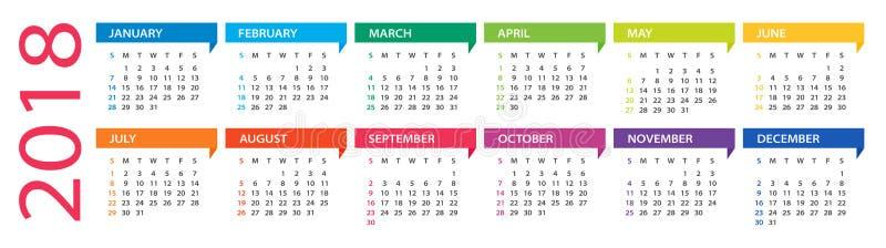 2018 calendario - ejemplo libre illustration