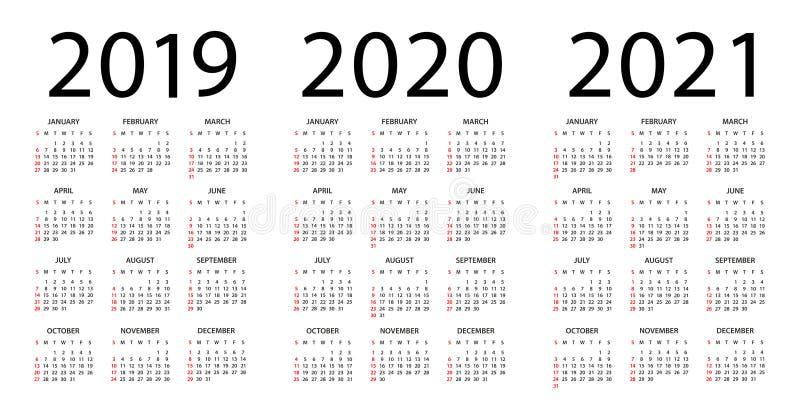 Calendario 2019 2020 2021 - ejemplo Comienzo de la semana el domingo stock de ilustración