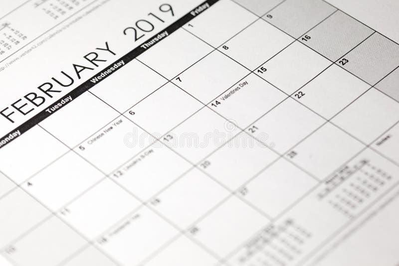 Calendario, el 14 de febrero de 2019 año St Día de San Valentín fotos de archivo libres de regalías