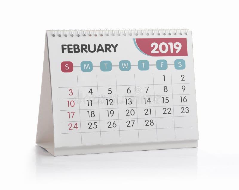 Calendario el 2019 de la oficina de febrero imágenes de archivo libres de regalías