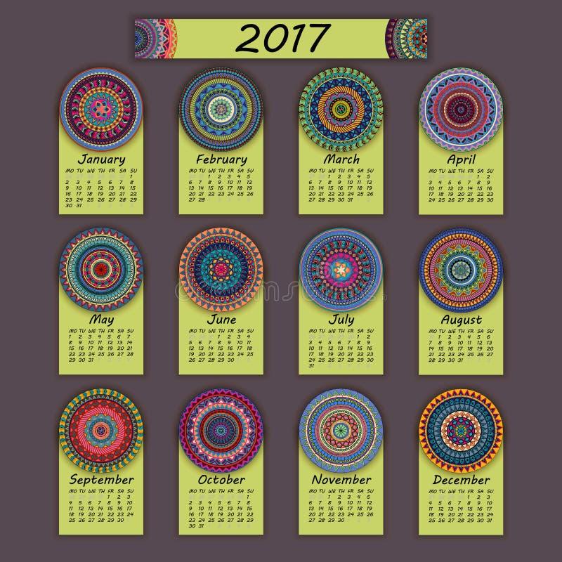 Calendario 2017 Elementos coloridos decorativos del vintage Modelo oriental floral ornamental, ejemplo libre illustration