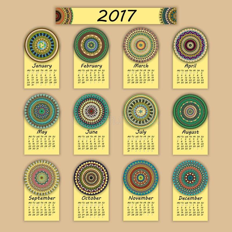 Calendario 2017 Elementos coloridos decorativos del vintage Modelo oriental floral ornamental, ejemplo del vector ilustración del vector