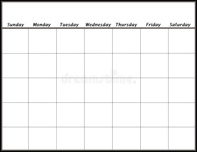 Calendario en blanco stock de ilustración