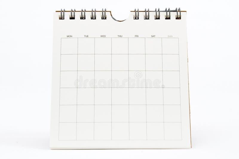 Calendario en blanco aislado en blanco fotografía de archivo libre de regalías