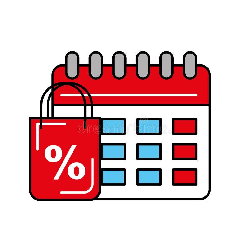 Calendario en línea del porcentaje de descuento del bolso que hace compras logístico libre illustration